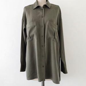 ZARA   Oversized Olive Green Long Sleeve Shirt